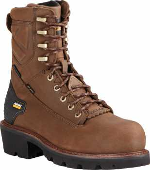Ariat AR10018567 Powerline, Men's, Brown, Comp Toe, EH, WP, 8 Inch Logger