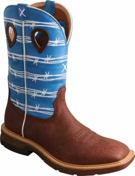 Twisted X TWMXBA001 Men's, Burgundy/Sky Blue, Alloy Toe, EH, 12 Inch, Pull On Boot